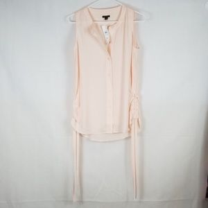 Ann Taylor Sleeveless Ruched Button up Blouse
